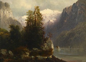 """Gemälde von Josef Thoma: """"Blick auf den Gosau See"""", gemalt spätestens 1899"""