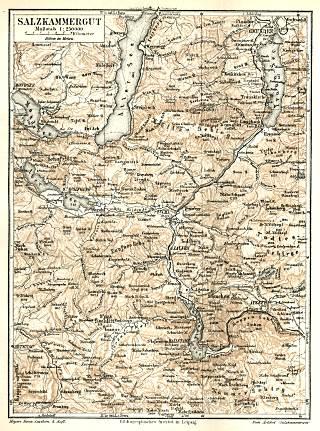Karte des Salzkammerguts von 1890 (Meyers Konversations-Lexikon) - gemeinfrei