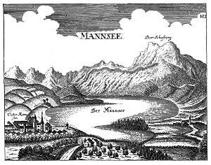 Mondsees (früher Mannsee genannt) - Quelle: Kupferstich von Georg Matthäus Vischer (1674), gemeinfrei