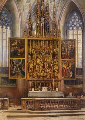 Pacher-Altar in St. Wolfgang, Gemälde von Alois Hänisch, 1910 - Quelle: Dorotheum, gemeinfrei