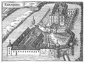 Schloss Eggenberg um 1674, Stich von Georg Matthäus Vischer - Quelle: gemeinfrei, published before 1923 and public domain in the US